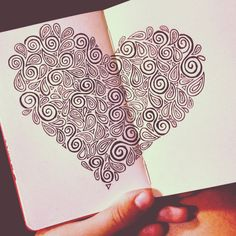 """lauren-salgado: """" Basically the same swirls and hearts, just in a heart shape. Done yet again with micron pens within a x inch moleskine sketchbook. Doodle Art Drawing, Mandala Drawing, Cool Art Drawings, Art Drawings Sketches, Mandala Art, Zen Doodle Patterns, Zentangle Patterns, Zentangles, Doodle Inspiration"""