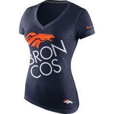 Womens Denver Broncos Nike Navy Blue Upkilter Tri-Blend V-Neck T-Shirt ($34) ❤ liked on Polyvore featuring tops, t-shirts, vneck tops, navy blue tops, navy t shirt, navy v neck t shirt and nike tees