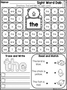 Sight Word Fluency Dab It(Set Sight Word Dab (Pre-Primer) This pack is great for beginning readers in preschool and in kindergarten to build confidence in reading. Inside you will find: 40 Sight Word Dab Pages *Each page is focused on one sight word. Preschool Sight Words, Teaching Sight Words, Sight Word Practice, Sight Word Games, Sight Word Activities, Learning Activities, Teaching Resources, Teaching Ideas, Word Games For Kids