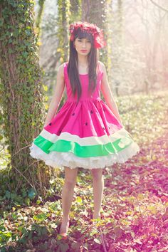 Limited Edition New York Couture WONDERLAND Collection PINK Mouth-watering WATERMELON Dress