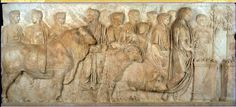 Sacrifice of a pig, sheep and bull (suovetaurilia) depicted on a Tiberian relief in the Louvre.