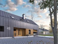 Projekt domu Pogodny – koszt budowy – EXTRADOM – Keep up with the times. Roof Architecture, Modern Architecture House, Residential Architecture, Black Exterior, Exterior Design, Roof Detail, Gate House, Shed Homes, Next At Home