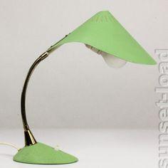 Cobra Schwanenhals Leuchte 50er alte Schreib Tisch Lampe Schrumpflack Lind Grün   eBay