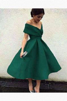 Dark Green Off Shoulder Tea Length Party Dress, Satin Wedding Party Dresses, Green Formal Dresses - perfect look! Ball Gowns Prom, Ball Dresses, Evening Dresses, Short Dresses, Prom Dresses Tea Length, Prom Night Dress, Tea Dresses, 1950s Dresses, Summer Dresses