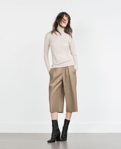 ae7e9425 Image 1 of FAUX LEATHER CULOTTES from Zara Leather Culottes, Faux Leather  Pants, Cullottes