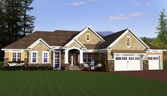 <ul><li>Beautiful shingles and stone adorn the exterior of this one level Ranch house plan. </li><li>The wide foyer opens up to the spacious great room with its grand fireplace flanked by built-ins. </li><li>A wall of windows brings light in and can be seen from the kitchen and bright and airy dinette. </li><li>Nearby, a cozy hearth room has a corner fireplace, a vaulted ceiling and a bay window. </li><li>Add an optional deck as your site allows. </li><li>All the bedrooms are grouped on the…