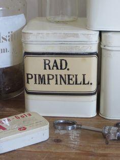 Oud Apothekersblik met oud etiket RAD. PIMPINELL