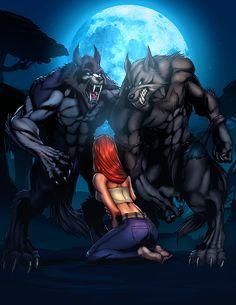 Two Werewolves_COLOR by `vest on deviantART