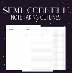 I finally made printable for note taking! They're semi-cornell system. The right side is for regular notes and the left-side is for key terms such as vocabulary words, main ideas, etc. There are three...