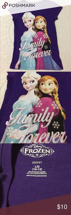 """NWOT Frozen """"Family Forever"""" Tshirt New without tags. Never worn. Size 10/12. Measurements: chest 14"""" length 22"""" Disney Shirts & Tops Tees - Short Sleeve"""
