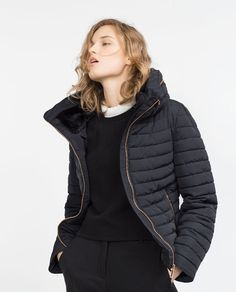 Zara padded coat with fur hood