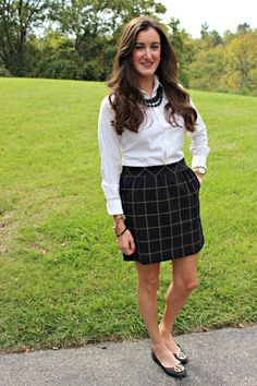Madewell Windowpane Plaid Skirt with Tory Burch Reva Ballet Flats and a White Ralph Lauren Button Down Shirt | A classic, preppy fall outfit