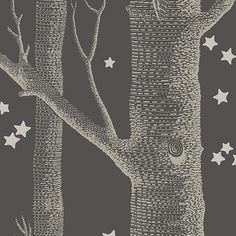 Woods & Stars Wallpaper A Cole's classic wallpaper with a twist, gold trees with gold stars on a charcoal background