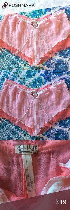 NWOT Free People Intimately Sleep Shorts Women's size Medium. Tie front. Brand new. Never worn. Never tried on. Tag marked to prevent store returns. Lightweight, Layered Gauze keeps you looking cute-And Comfy! Tie Tasseled front. Pink/white Combo.Double layered sheer crinkly mesh gauze sleep shorts. Drawstring waistband. *100% Cotton  *Hand Wash Cold  *Import Free People Intimates & Sleepwear