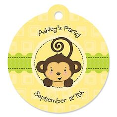 Monkey Neutral - Round Personalized Party Tags | BigDotOfHappiness.com