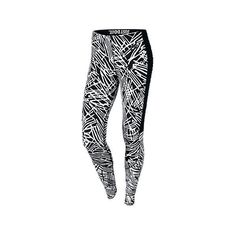 Nike Women's Leg-A-See Allover Print Leggings, Black/White ($35) ❤ liked on Polyvore featuring pants, leggings, bottoms, black and white jersey, jersey leggings, stretchy pants, nike and slim pants