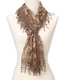 Brown Leaf Lace & Crochet-Trim Scarf