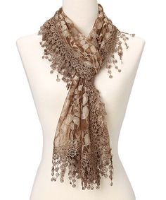 Brown Leaf Lace & Crochet-Trim Scarf