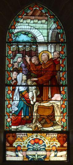 Vitraux de la vie de Saint Antoine : résurrection d'un enfant | Début XXe s., Maison Lorin, Chartres | Eglise Saint-Antoine-de-Padoue, Le Chesnay (France)