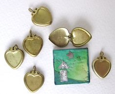 Vintage Brass Lockets. Hearts With Recess