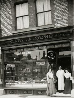 Carl Duwe outside his baker and confectioner's shop on Burton Rd, West Didsbury, B/W Photo Colourised by Pearse. Victorian London, Vintage London, Old London, Uk History, London History, Old Pictures, Old Photos, British Shop, Salford