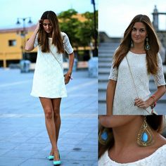 Lace & Turquoise (by Marianela Yanes) http://lookbook.nu/look/3930668-Lace-Turquoise