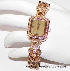Kirk's Folly Aurora Borealis Crystal Gold Tone Watch NEW HSN