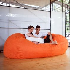 Bean Bag Sofa with Removable Cover by Jaxx Enormous 7 ft bean bag sofa big enough for up to three adults! The Jaxx 7 ft Sofa is the biggest b Bean Bag Couch, Bean Chair, Bean Bag Lounger, Home Theater, Oversized Bean Bag Chairs, Giant Bean Bags, Bedroom Accessories, Lounges, My Living Room