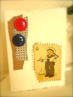 Nautical Boy Vintage Illustration Handmade Greetings Blank Art Card. $4.00, via Etsy.