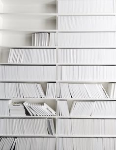 A wall of pure white books - sheer heaven! All White, Pure White, White Light, White Feed, White Magic, Design Set, Web Design, Aesthetic Colors, Simple Aesthetic