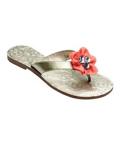 Take a look at this Gold Mary Beth Flip-Flop by Lindsay Phillips on #zulily today!