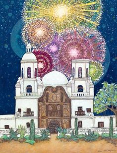 Artist's imagination stirred by san xavier mission's saints, angels.