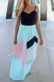 Color Block Open Back Zippered Maxi Dress