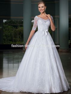 Beautiful Sweetheart Neckline White Lace Ball Gown Half Sleeve Wedding Dress
