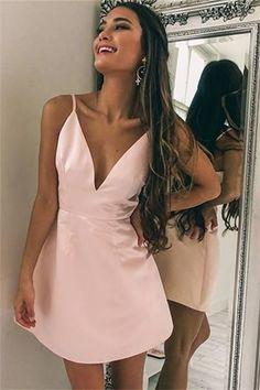 Cute Pink A Line Spaghetti Strap Homecoming Dress#lacedress #homecomingdresses #homecoming #short #shortdress #shortpromdress #promotion #prom #fashion #fashionstyle