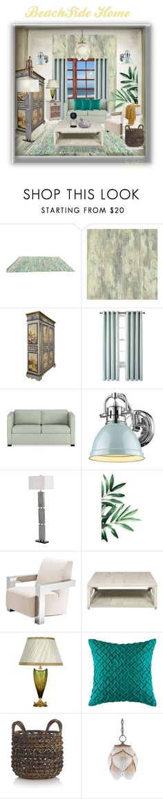 """Beach side home"" by julidrops ❤ liked on Polyvore featuring interior, interiors, interior design, home, home decor, interior decorating, York Wallcoverings, Royal Velvet, Williams-Sonoma and Golden Lighting"