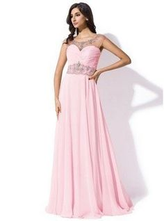 A-Line Princess Scoop Neck Sweep Train Chiffon Prom Dress With Ruffle Beading Sequins 018055265 g55265