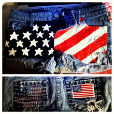I wanna make these so bad! Country Girl Style, Country Girls, My Style, Student Fashion, Girl Fashion, Short Outfits, Cute Outfits, American Flag Shorts, All American Girl