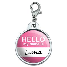 Chrome Plated Metal Small Pet ID Dog Cat Tag Hello My Name Is LI-MAK - Luna * Click image for more details.