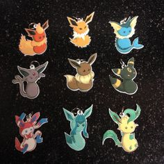 Pokemon Eevee Evolution Charm Set of 9 Necklace with by Raicodoll