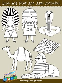 Black and white line art files are also included as part of this collection of ancient Egypt clip art.