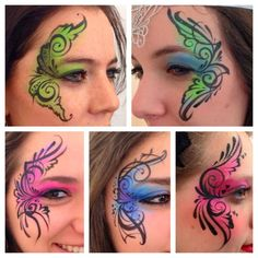 Awesome designs!!! Love it. Teenager eye designs for face painting swirls and teardrops colorful