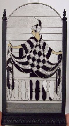 Erté's Lady Stained Glass Panel on a Stand by Barbara Sabia