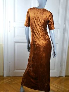 0c64a8f331a European Vintage Maxi Dress Deep Gold Luxurious Crushed Velour Shorts