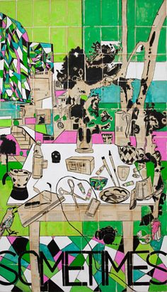 'Today' Mixed media on linen 198 x 110cm Katherine Hattam, episode 2 Talking with Painters podcast