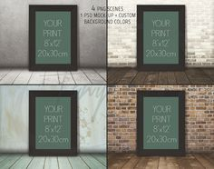 8x12 Black Portrait Unmatted Frame on Wooden Floor, 4 Print Display Mockups, PNG PSD PSE, Styled Image, Opening 20x30cm, Custom bg colors