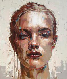 Jimmy Law, acrylic on canvas, 2014 {figurative art female head… L'art Du Portrait, Abstract Portrait, Portrait Ideas, Portrait Acrylic, Art And Illustration, Illustrations, Acrylic Face Painting, Painting Art, Painting Inspiration