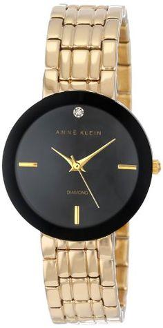 Anne Klein Women's AK/1110BKGB Diamond Dial Black Wall-To-Wall Gold-Tone Bracelet Watch