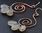 Chalcedony Copper Earrings Blue Gemstone Spiral Wire Jewelry Beaded Spirals Celtic Swirl Fashion Statement Wire Wrapped Dangle Earrings