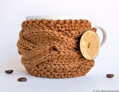 Knitted Cup Cozy in Caramel Brown - Harvest Autumn Fall Farm Rustic Spice Rust Rustic Neutral Cottage Clove. $17.50, via Etsy.